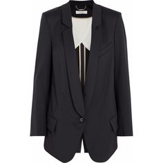 Chloé Wool blazer (3 450 PLN) ❤ liked on Polyvore featuring outerwear, jackets, blazers, coats, coats & jackets, navy, chloe blazer, chloe jacket, navy blue jacket and wool lined jacket