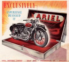 digitalpostercollection:   1948 Exclusively Ariel, Experience Designed It    Published at: http://digitalpostercollection.com/motorcycles/ariel-motorcycles/
