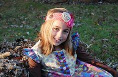 Pink Knit Headband/Ear warmer with Flowers