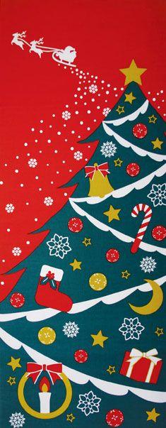 四季彩布てぬぐい クリスマス 十ニ月/手拭い/手ぬぐい/てぬぐい/和/和雑貨/季節手ぬぐい/インテリア/冬/クリスマス/xmas Fabric Painting, Fabric Art, Cotton Fabric, Christmas Concert, Xmas, Christmas Ornaments, Japanese Textiles, Japanese Fabric, Retro Illustration