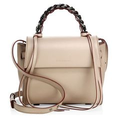 angel sensua leather satchel by Elena Ghisellini. Sleek leather flap silhouette with woven chain handle. Chain and leather top handle with tassel detail. Removable, ad...
