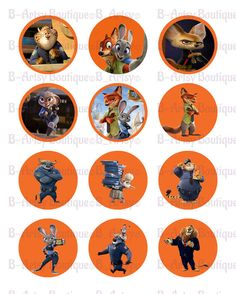 Zootopia Cupcake Toppers Zootopia Digital by BeArtsyBoutique