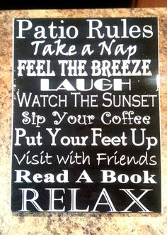 Patio Rules  Deck Rules Wall Art  Subway Art by scontrino1970, $16.00