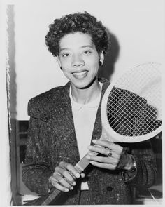 Photograph of Althea Gibson from a newspaper, about 1956.