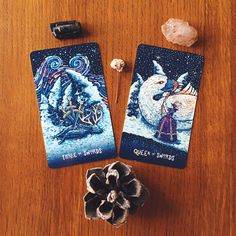 """2/23/16 - 3 of Swords and Queen of Swords, offers some sage advice on dealing with disappointment. Instead of internalizing the disappointing experience by asking """"Why?"""" over and over again, she asks us to accept what's real, remove our emotional response and replace it with the wisdom that has come from experience. She asks us to consider, """"What will work best moving forward?"""""""