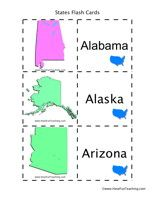 Match the picture of the state to the state name.  United States Flash Cards