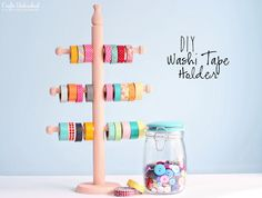 Decorative Tape DIY Storage Holder Tutorial. Super cute idea. Link to supply list on tutorial.