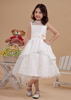 2015 Zipper Flower White Ruched Tea Length Straps Sleeveless Flower Girl Dresses FGD
