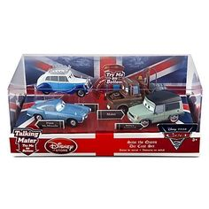 Disney / Pixar CARS 2 Movie Exclusive 148 Die Cast Car 4Pack Save the Queen Finn McMissile, Queen, Mater Miles Axelrod by Disney Store. Save 24 Off!. $18.95. Cars up to 4'' L. Mater and Finn McMissile each require 3 x LR41 button cell batteries, included. Die cast metal. Imported. Ages 3+. Enjoy plenty of royal fun with this Save the Queen Cars 2 Die Cast Set. Press the button to hear Mater and Finn McMissile talking as the Cars 2 cast, including the Queen with her silver crown,...