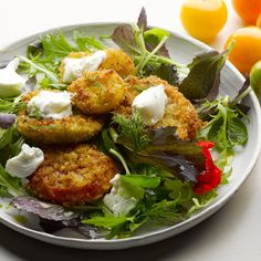 Fried tomatoes with goat's curd I Ottolenghi recipes I Use a selection of firm tomatoes (red, green or any of the many shades and shapes available), fry them in breadcrumbs, then match with leaves and mild cheese to let the tomato flavours shine.