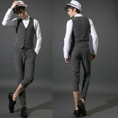 3 Piece Men Black Stripe Slim Fit Punk Rock Business Prom Wedding Suit SKU-11401474