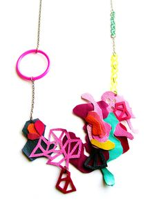 Geometric Necklace Triangle and Leather Ink by BooandBooFactory, $62.00
