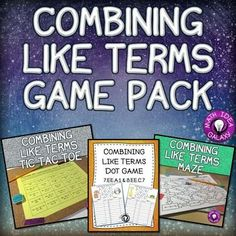 Combining Like Terms Game Pack gets students practicing combining variables and integers. This pack includes three great products: Combining Like Terms Tic Tac Toe, Combining Like Terms Dot Game, and Combining Like Terms Maze. It is great for differentiation, stations or centers, partner work, or homework.Supports 6th grade, 7th grade, and 8th grade math standards:  CCSS 7.EE.A.1, CCSS 8.EE.C.7, 6.EE.A.3, 6.EE.A.4, TEKS 7.7A, TEKS 8.8A.