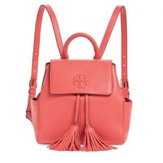 "✨NWT Tory Burch Thea Backpack Spiced Coral Leather NWT! Authentic  Tory Burch Thea backpack in Spiced Coral leather. Magnetic closure. Drawstring with tassels. Exterior has one back flat pocket and two side pockets. Interior has zip pocket. 9""Lx5""Wx8""H. Comes with dust bag. ***Price Firm, No Trades*** Tory Burch Bags Backpacks"