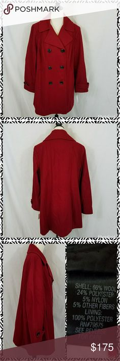 Plus size women's red pea coat This wool peacoat is the most beautiful shade of deep red. It is nice and long and covers the butt. Double-breasted with black buttons. Extra buttons included. Fully lined. Please feel free to ask questions about fit and style before purchasing. This item cannot be bundled due to shipping weight. croft & barrow Jackets & Coats Pea Coats