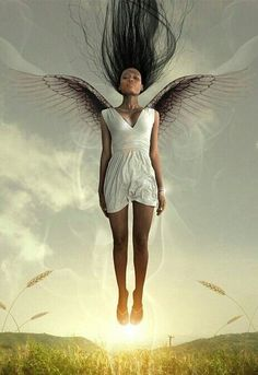 Angel by Adisa Abeba Black Art Pictures, Angel Pictures, Black Love Art, Black Girl Art, African American Art, African Art, Celestial, Black Fairy, Black Angels