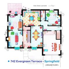 """.  These are the floorplans of the Simpson family house from the TV series """"The Simpsons"""".  .  It's an original hand drawed plan, in scale, coloured with colour pens and with full details of furniture and complements …  Obviously an animated series is..."""