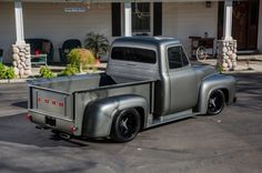 1956-Ford-F-100 - Truck, Gray, Black Rims, Classic