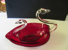 Duncan Miller Glass Pall Mall Ruby Red w Crystal Neck and Head Nested Swans USA
