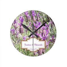 French Lavender Flowers Personalized Wedding Round Clock - wedding decor marriage design diy cyo party idea