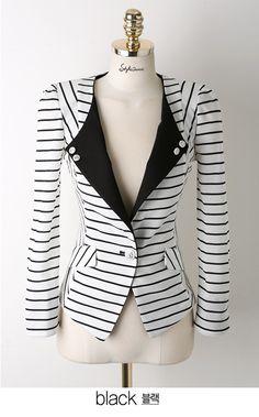 nuevo otoño 2013 hembra de la mujer traje de chaqueta negro y rayas blancas casual slim chaqueta corta
