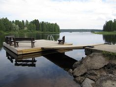 Laituri Lake Dock, Boat Dock, Decks, Floating Dock, Lake Cabins, Lake Life, Restaurant Design, Cottage, Pond