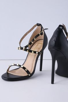 fa4c3a940f78 Unleash your inner vixen with the Lulus Trixyn Black Studded Ankle Strap  Heels! Gold studs