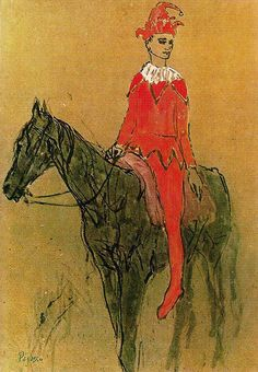 Harlequin on the horseback, 1905 by Pablo Picasso, Rose Period. Expo Picasso, Kunst Picasso, Art Picasso, Picasso Blue, Picasso Paintings, Rose Paintings, Indian Paintings, Abstract Paintings, Painting Art