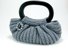 Crochet  Fat Bottom Bag with Oval Wood Handles with Pin Brooch --SMALL-- Mercury Grey
