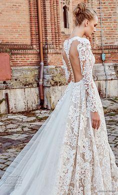 miriams bride 2018 bridal long sleeves deep v neck full embellishment glamorous elegant fit and flare wedding dress a line overskirt sheer button back royal train (4) zbv