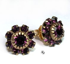 Purple Swarovski earrings in vintage style Jewels by LissieDesign, $28.00