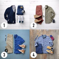 Four Outfits in the transition of Summer and Fall. Which one do you like? Check out stylecoordinators.com for more.