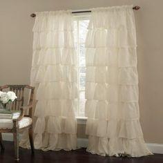 "Amazon.com: Cream 63"" Long Gypsy Shabby Chic Ruffled Window Curtain Panel: Home & Kitchen"