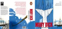 The Penguin Books edition to the classic novel Moby Dick has numerous illustrations and harsh contrasting type that help convey the feel and setting of the book. Each part of the jacket (Front/Back Covers, Spine, and Front/Back Flaps) are independently designed so that not one illustration bleeds to another section, they all have the same style and feel.