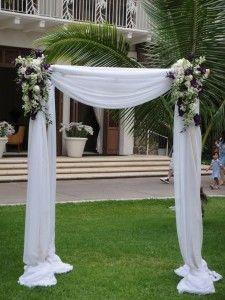 simple white linen draped arch
