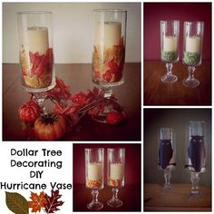 Dollar Tree Decorating DIY :: Hurricane Vase Hurricane Vase DIY - Some inexpensive ideas for fall decorating!