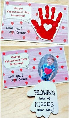 Handprint Valentine's Day Card   Blowing Kiss Your Way,