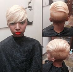 Hair color shave and cut! Short Sassy Haircuts, Short Hair Cuts, Short Hair Styles, Pixie Styles, Mohawk Styles, Pixie Cuts, Love Hair, Gorgeous Hair, Locks