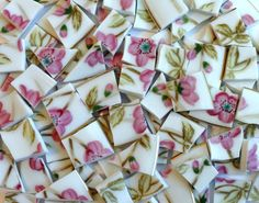 100 Rose Pink Flowers Vintage China Tiles//Broken Dish Mosaic Tiles//Mosaic Supplies//Mosaic