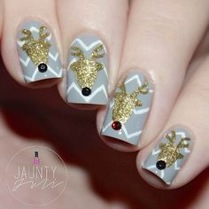 Gold Reindeer's Nail Art Design