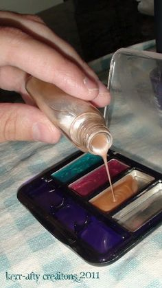 Pretend Make-up from nail polish. Did this for Madison last Christmas went to dollar store  bought cheap makeup  scrapped it out.  gave it to her w/ brushes  a makeup bag such a hit! the make up goes everywhere w/us (no mess! which I LOVE) she puts makeup on everyone that comes over and her dolls of course!