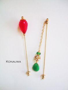 Superior Fuchsia Green And Gold Hijab Pin Set By Konauwa On Etsy, $10.00