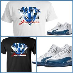 31546dc4e7b2cb Exclusive Tee Shirt To Match The Nike Air Jordan 12 Xii French Blue! J  Diamond