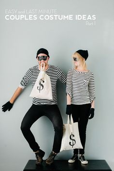 DIY Couples Halloween Costume Ideas - Easy Last Minute Idea - Bandits Bank Robbers Couples Costumes via Say Yes