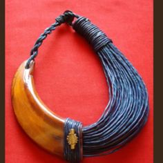 Warthog Tooth & Braided Leather Necklace, Africa