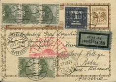 """Polar travel 1931, rear till ice-breaker Malyguin, Picture-GSK """"Paznauntal"""" from Retz 20. 7. with amongst other things 24 g. Niebelungen in attractive additional franking, flight stamp and arrival-SST 27. 7. decoratively on face, very scarce depature, excellent condition    Dealer  Auction house Ulrich Felzmann    Auction  Minimum Bid:  150.00EUR"""