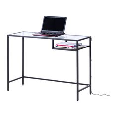 ikea vittsj laptop table cm made of tempered glass and metal hardwearing materials that give an open airy feel