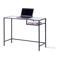 VITTSJÖ Laptop table, black-brown, glass $39.99