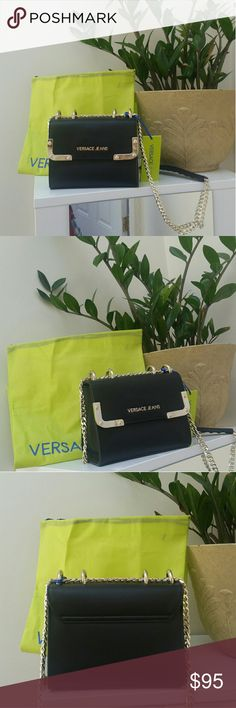 Black Versace Jeans bag Black leather with gold detail Versace Bags Shoulder Bags