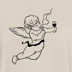 mug art Bad angel is drinking Chicano Angel Tattoo, Baby Angel Tattoo, Cupid Tattoo, Small Angel Tattoo, Angel Tattoo For Women, Tattoo Sketches, Tattoo Drawings, Art Sketches, Art Drawings